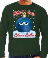 Groene foute kerstsweater trui blauwe ballen blue balls voor heren
