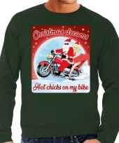Groene foute kersttrui sweater christmas dreams hot chicks on my bike voor motorfans voor heren