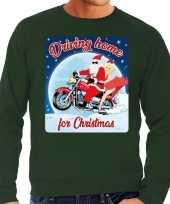 Groene foute kersttrui sweater driving home for christmas voor motorfans voor heren