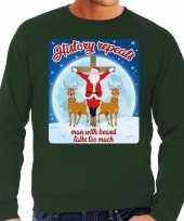 Groene foute kersttrui sweater history repeats too voor heren