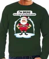 Groene foute kersttrui sweater im broke enjoy your gits voor heren