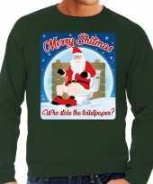 Groene foute kersttrui sweater merry shitmas losing a turkey voor heren