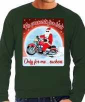 Groene foute kersttrui sweater no presents for kids voor motor fans voor heren