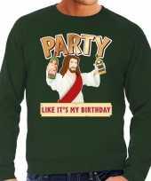 Groene foute kersttrui sweater party jezus voor heren