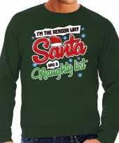 Groene foute kersttrui sweater santas naughty list voor heren