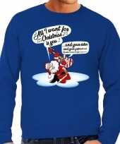 Grote maten blauwe foute kersttrui sweater kerstman die gitaar speelt en zingt voor heren