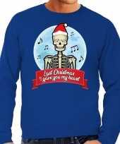 Grote maten blauwe foute kersttrui sweater last christmas i gave you my heart voor heren