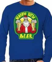 Grote maten blauwe foute kersttrui sweater proostende santa happy new beer voor heren