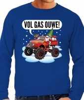 Grote maten blauwe foute kersttrui sweater racende santa op monstertruck voor heren