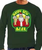 Grote maten groene foute kersttrui sweater proostende santa happy new beer voor heren