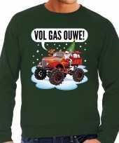 Grote maten groene foute kersttrui sweater racende santa op monstertruck voor heren