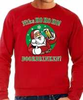 Grote maten rode foute kersttrui sweater niks ho ho ho doordrinken met pul bier voor heren