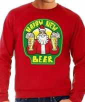 Grote maten rode foute kersttrui sweater proostende santa happy new beer voor heren