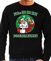 Grote maten zwarte foute kersttrui sweater niks ho ho ho doordrinken met pul bier voor heren