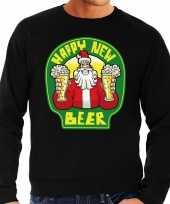 Grote maten zwarte foute kersttrui sweater proostende santa happy new beer voor heren