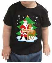 Kerstshirt merry christmas kerstman rendier zwart baby jongen me