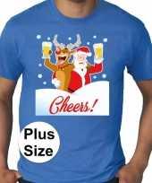 Plus size blauw fout kerst t shirt dronken kerstman rudolf voor heren
