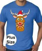 Plus size blauw fout kerst t shirt rudolf het rendier voor heren