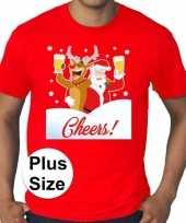 Plus size rood fout kerst t shirt dronken kerstman rudolf voor heren
