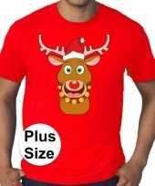Plus size rood fout kerst t shirt rudolf het rendier voor heren