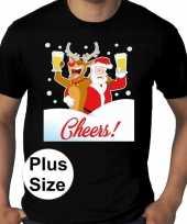 Plus size zwart fout kerst t shirt dronken kerstman rudolf voor heren