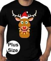 Plus size zwart fout kerst t shirt rudolf het rendier voor heren
