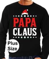 Plus size zwarte foute kersttrui sweater papa claus voor heren