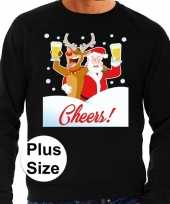 Plus size zwarte foute kersttrui sweater proostende kerstman rendier voor heren