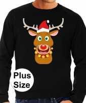 Plus size zwarte foute kersttrui sweater rudolf rendier voor heren