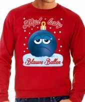 Rode foute kerstsweater trui blauwe ballen blue balls voor heren