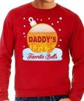 Rode foute kerstsweater trui daddy his favorite balls met bier print voor heren