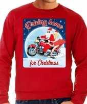 Rode foute kersttrui sweater driving home for christmas voor motorfans voor heren