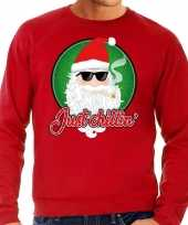 Rode foute kersttrui sweater just chillin voor heren