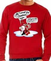 Rode foute kersttrui sweater kerstman die gitaar speelt en zingt voor heren