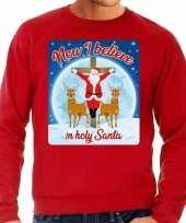 Rode foute kersttrui sweater now i believe in holy santa voor heren