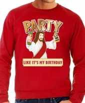 Rode foute kersttrui sweater party jezus voor heren