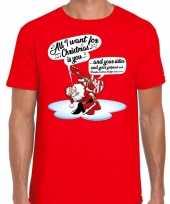 Rood fout kerst shirt kerstman die gitaar speelt en zingt voor heren