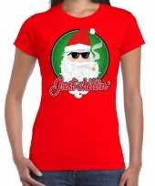 Rood fout kerstshirt t shirt just chillin voor dames