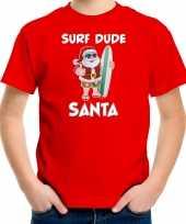 Surf dude santa fun kerstshirt outfit rood voor kinderen