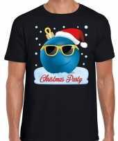 Zwart fout kerstshirt t shirt christmas party met coole kerstbal voor heren