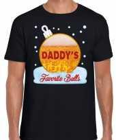 Zwart fout kerstshirt t shirt daddy his favorite balls met bierprint voor heren