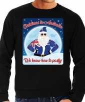 Zwarte foute australie kersttrui sweater christmas in australia we know how to party voor heren