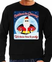 Zwarte foute duitsland kersttrui sweater christmas in germany we know how to party voor heren