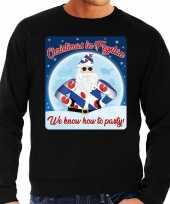 Zwarte foute friesland kersttrui sweater christmas in fryslan we know how to party voor heren