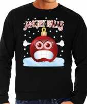 Zwarte foute kerstsweater trui angry balls voor heren
