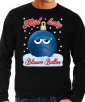 Zwarte foute kerstsweater trui blauwe ballen blue balls voor heren
