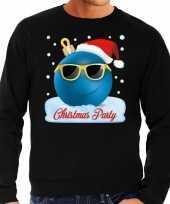 Zwarte foute kerstsweater trui christmas party voor heren