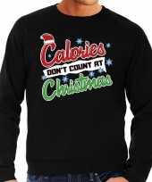 Zwarte foute kersttrui sweater calorieen tellen niet tijdens kerst voor heren