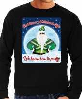 Zwarte foute kersttrui sweater christmas achterhoek style we know how to party voor heren