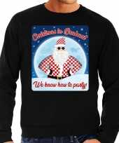 Zwarte foute kersttrui sweater christmas in brabant we know how to party voor heren